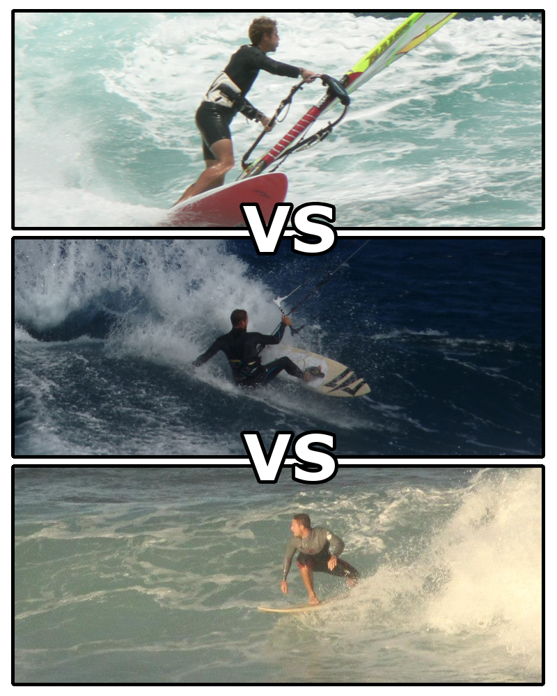 Windsurfing and Kitesurfing vs. Surfing