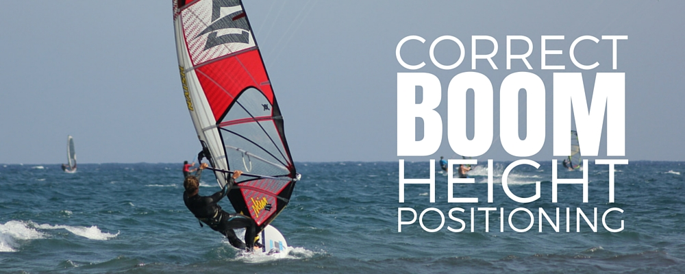 Correct windsurf boom height positioning